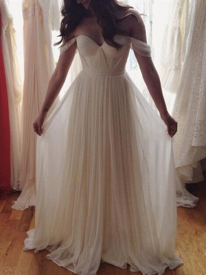 A-Line/Princess Off-the-Shoulder Sleeveless Floor-Length Chiffon Beading Dresses