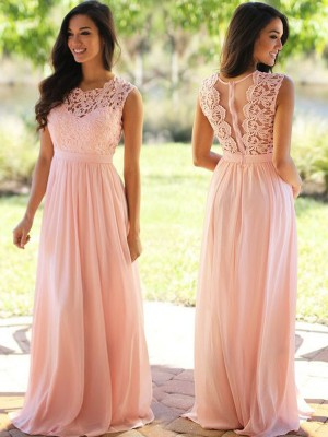 Floor-Length A-Line/Princess Scoop Sleeveless Chiffon Dresses with Applique