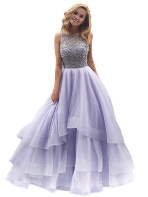 Ball Gown Scoop Sleeveless Organza Beading Floor-Length Dresses