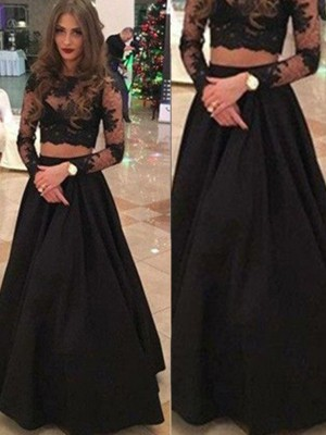 A-Line/Princess Scoop Lace Long Sleeves Floor-Length Dresses