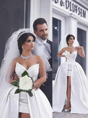 Ball Gown Sweetheart Satin Sleeveless Beading Chapel Train Wedding Dresses