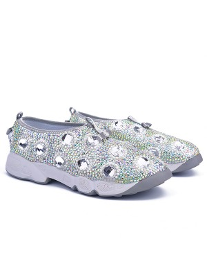 Women's Flat Heel Patent Leather Closed Toe With Rhinestone Fashion Sneakers