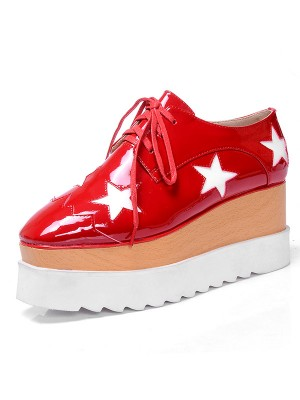 Women's Patent Leather Platform Closed Toe Fashion Sneakers Shoes