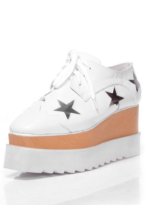 Women's Closed Toe Patent Leather Platform Wedge Heel With Lace-up Fashion Sneakers