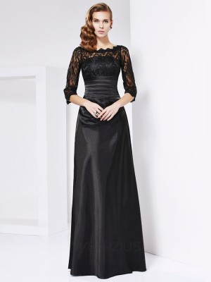 A-line/Princess Off-the-shoulder 3/4 Sleeves Elastic Woven Satin Dresses