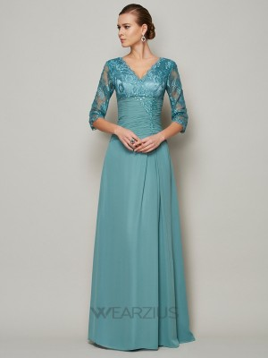 A-Line/Princess High Neck Chiffon 3/4 Sleeves Lace Mother of the Bride Dresses