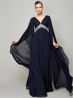 A-Line/Princess V-neck Chiffon Long Sleeves Beading Floor-Length Dresses