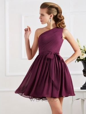 A-Line/Princess Sleeveless One-Shoulder Pleats Chiffon Short/Mini Dresses