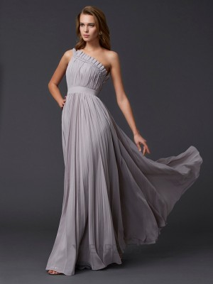 A-Line/Princess Sleeveless Pleats One-Shoulder Chiffon Floor-Length Dresses