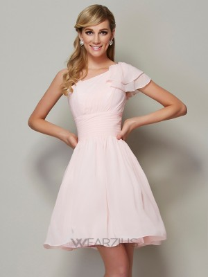 A-Line/Princess Straps Sleeveless Pleats Chiffon Short/Mini Bridesmaid Dresses