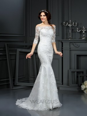 Sheath/Column Off-the-Shoulder 1/2 Sleeves Sweep/Brush Train Lace Wedding Dresses