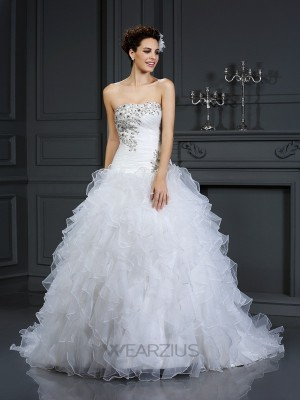 Ball Gown Strapless Sleeveless Beading Organza Chapel Train Wedding Dresses