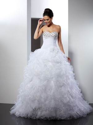 Ball Gown Sleeveless Sweetheart Beading Organza Cathedral Train Wedding Dresses