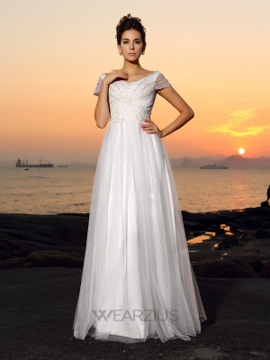 A-Line/Princess Off-the-Shoulder Short Sleeves Tulle Floor-Length Beading Wedding Dresses