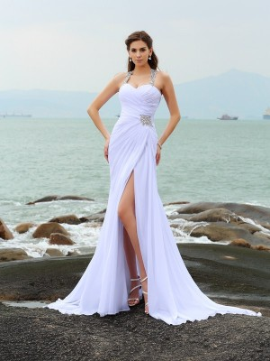 Sheath/Column Sleeveless Straps Chiffon Beading Chapel Train Wedding Dresses