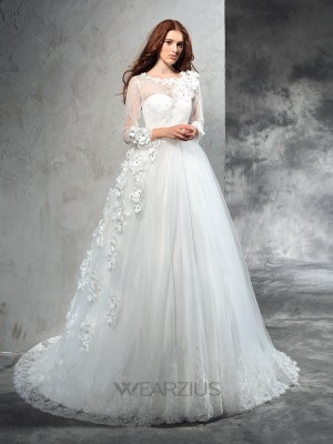Ball Gown Sheer Neck Long Sleeves Court Train Net Hand-Made Flower Wedding Dresses