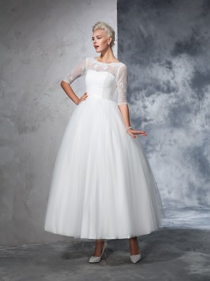 Ball Gown 1/2 Sleeves Net Lace Bateau Ankle-Length Wedding Dresses