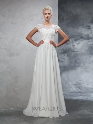 A-Line/Princess Sheer Neck Chiffon Short Sleeves Sweep/Brush Train Applique Wedding Dresses