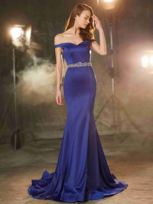 Trumpet/Mermaid Off-the-Shoulder Crystal Satin Sleeveless Sweep/Brush Train Dresses