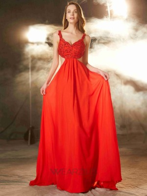 A-Line/Princess Chiffon Sleeveless Straps Applique Sweep/Brush Train Dresses