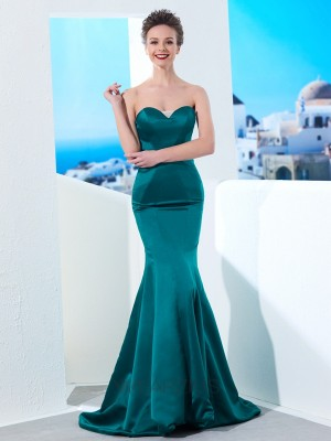 Trumpet/Mermaid Sweetheart Satin Sleeveless Ruched Sweep/Brush Train Dresses
