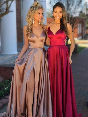 Sweep/Brush Train A-Line/Princess V-neck Sleeveless Satin Dresses with Ruffles