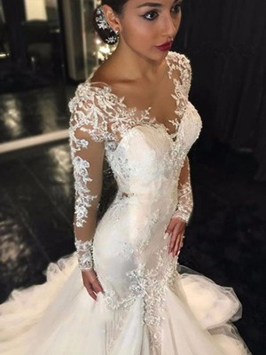 Court Train Trumpet/Mermaid V-neck Lace Long Sleeves Tulle Wedding Dresses