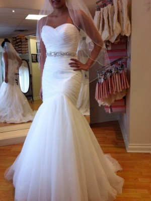Trumpet/Mermaid Sweetheart Court Train Sleeveless Tulle Beading Wedding Dresses