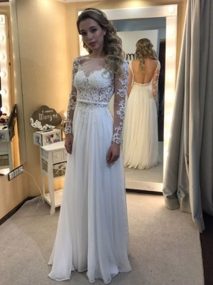 A-Line/Princess Bateau Long Sleeves Chiffon Floor-Length Lace Wedding Dresses