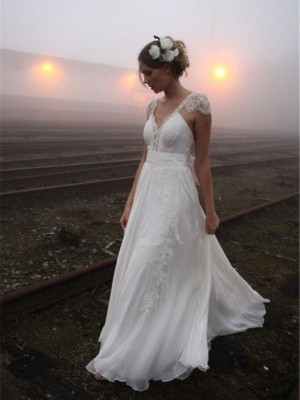 A-Line/Princess V-neck Chiffon Sleeveless Lace Sweep/Brush Train Wedding Dresses