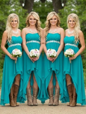A-Line/Princess Sweetheart Sleeveless Beading Chiffon Asymmetrical Bridesmaid Dresses