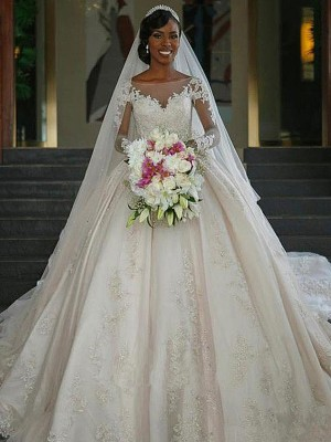 Ball Gown Bateau Long Sleeves Satin Sweep/Brush Train Applique Wedding Dresses