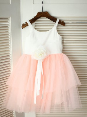 A-line/Princess Spaghetti Straps Sleeveless Hand-made Flower Tea-Length Tulle Flower Girl Dresses