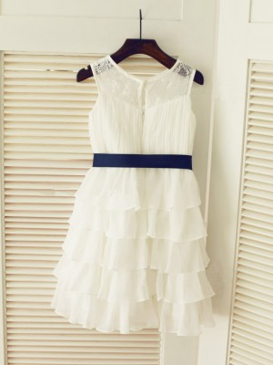 A-line/Princess Scoop Chiffon Sleeveless Ruched Tea-Length Dresses