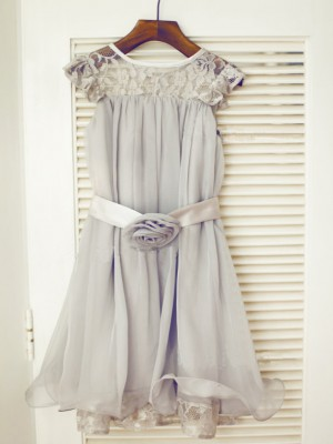 A-line/Princess Sleeveless Scoop Lace Chiffon Tea-Length Dresses
