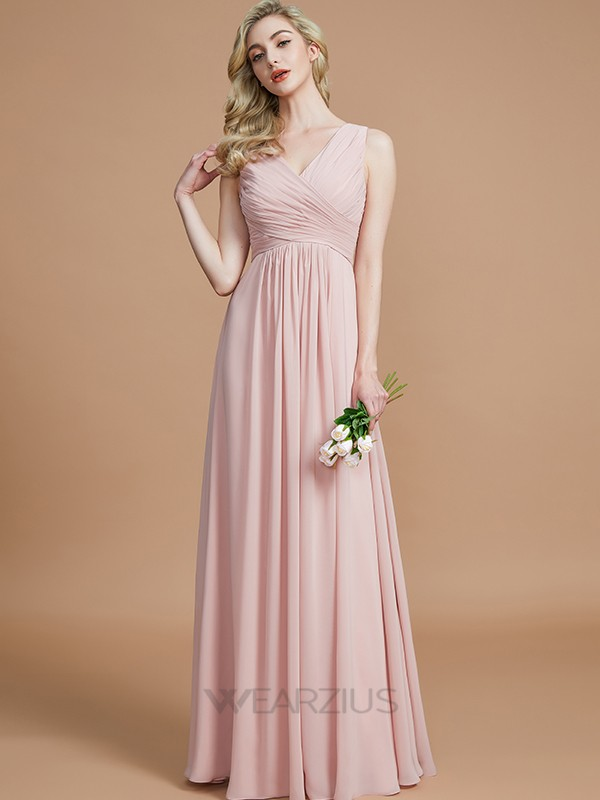 A-Line/Princess V-neck Chiffon Sleeveless Ruched Floor-Length Bridesmaid Dresses