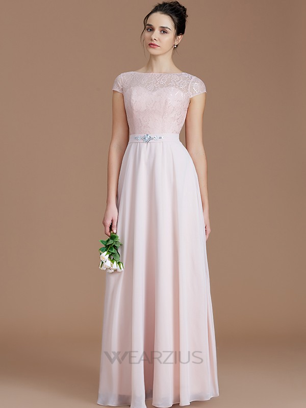 A-Line/Princess Bateau Sleeveless Lace Chiffon Floor-Length Bridesmaid Dresses