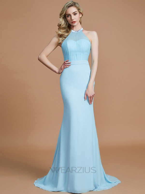 Trumpet/Mermaid Scoop Sleeveless Chiffon Sweep/Brush Train Bridesmaid Dresses