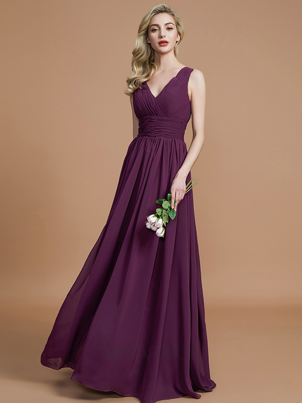 A-Line/Princess V-neck Sleeveless Chiffon Floor-Length Bridesmaid Dresses