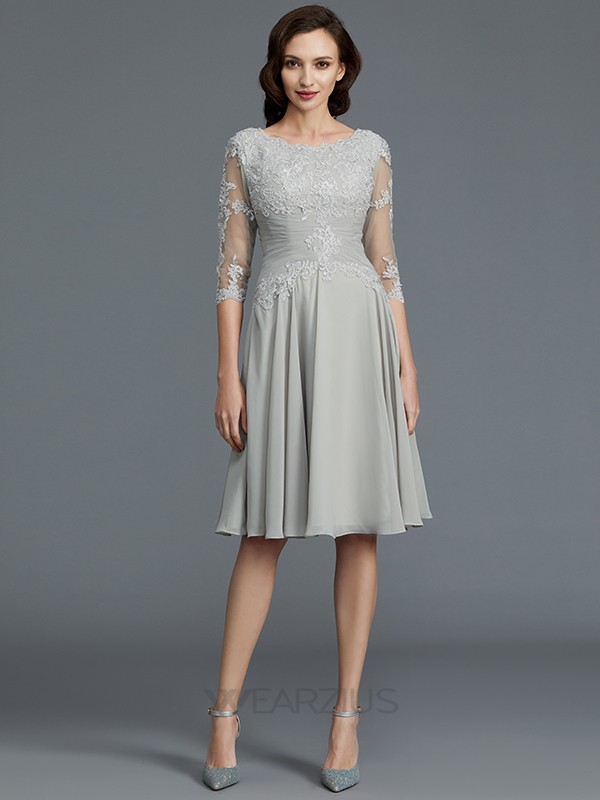 A-Line/Princess Scoop 1/2 Sleeves Applique Chiffon Knee-Length Mother of the Bride Dresses