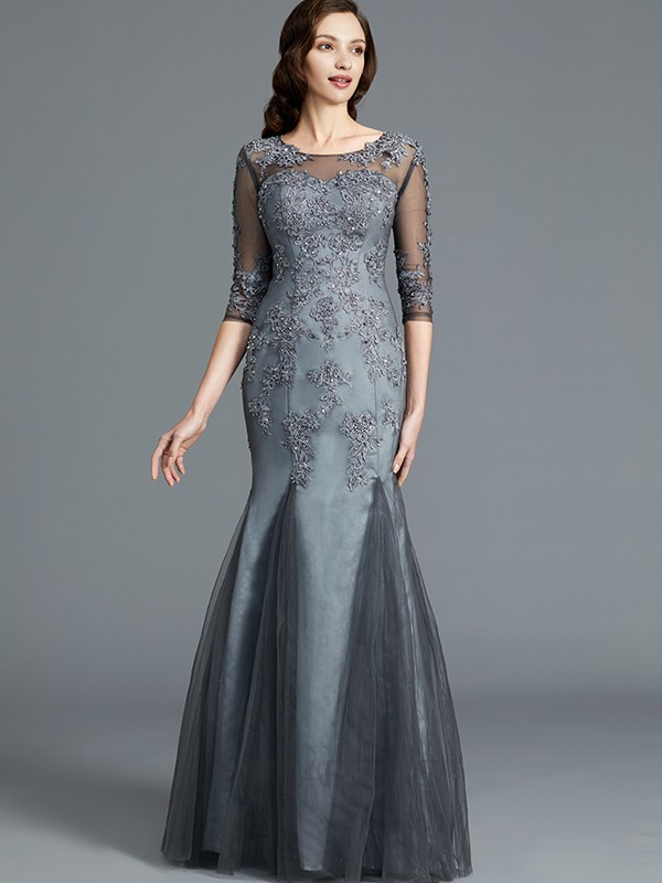Sheath/Column Scoop 1/2 Sleeves Tulle Applique Floor-Length Mother of the Bride Dresses