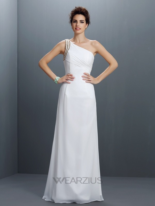 Sheath/Column One-Shoulder Sleeveless Chiffon Beading Floor-Length Dresses