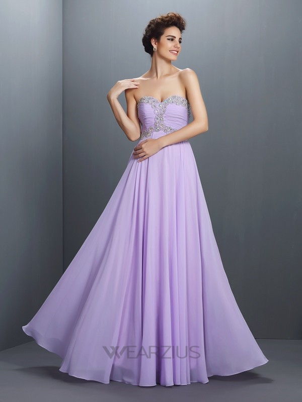 A-Line/Princess Sweetheart Floor-Length Sleeveless Chiffon Beading Dresses