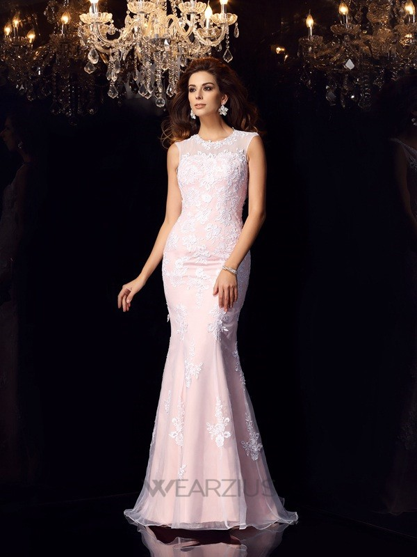 Trumpet/Mermaid Sleeveless Scoop Floor-Length Satin Lace Dresses