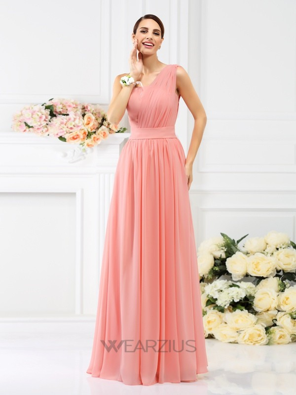 A-Line/Princess One-Shoulder Sleeveless Floor-Length Pleats Chiffon Bridesmaid Dresses