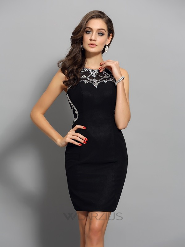 Sheath/Column Sleeveless Chiffon Scoop Beading Short/Mini Dresses