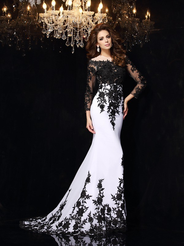 Sweep/Brush Train Sheath/Column Scoop Lace Long Sleeves Chiffon Dresses