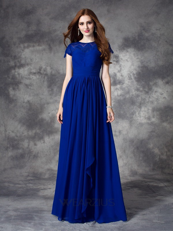 A-line/Princess Lace Sleeveless Chiffon Bateau Floor-length Bridesmaid Dresses