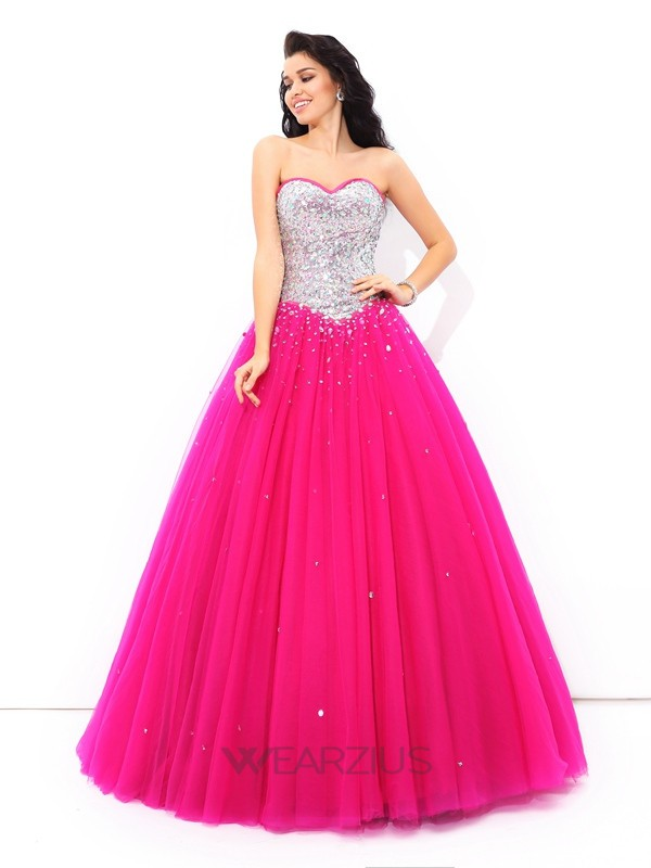 Ball Gown Sweetheart Sleeveless Satin Beading Floor-Length Quinceanera Dresses