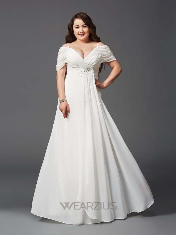 A-line/Princess Off-the-Shoulder Ruched Short Sleeves Floor-Length Chiffon Plus Size Dresses